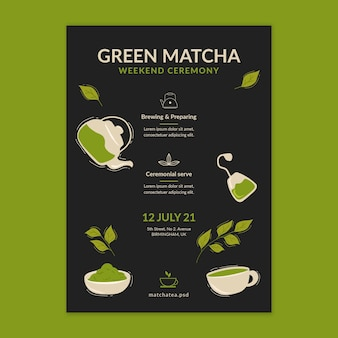 Szablon plakatu herbaty matcha