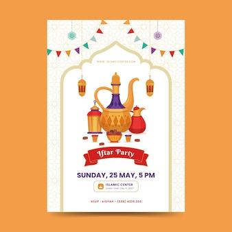 Szablon plakatu iftar. ramadan kareem tło z elegancką mandalą, latarnią, datami i czajnikiem