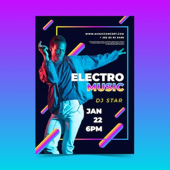 Szablon plakatu imprezy muzyki elektronicznej ze zdjęciem