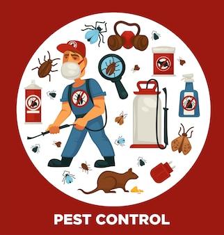 Szablon plakatu informacyjnego firmy zajmującej się eksterminacją lub zwalczaniem szkodników do sanitarnej dezynfekcji domowej.
