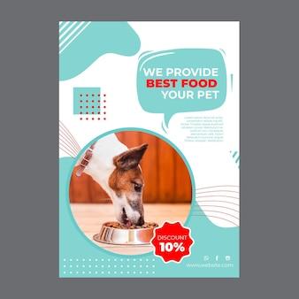Szablon plakatu karmy dla zwierząt domowych ze zdjęciem