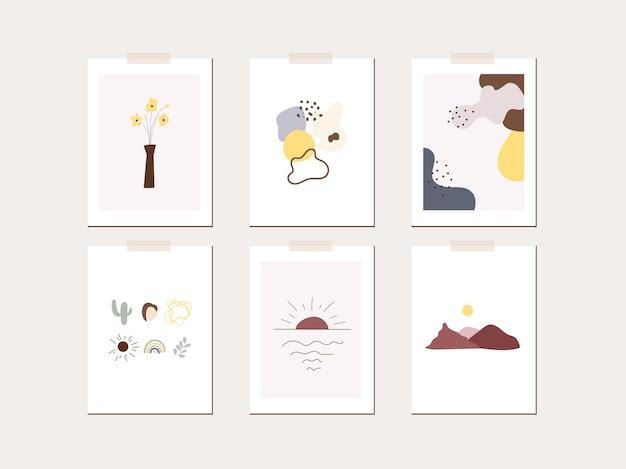Szablon plakatu karty z pozdrowieniami wiosenny nastrój. minimalistyczne liście, kwiaty, słońce, abstrakcyjne kształty.