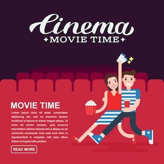 Szablon plakatu kinowego lub banera filmowego napis