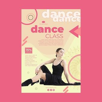 Szablon plakatu klasy tańca ze zdjęciem