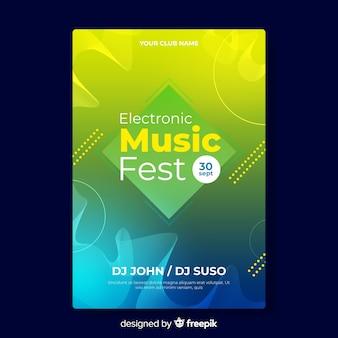 Szablon plakatu kolorowe gradientu muzyki elektronicznej
