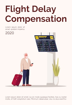 Szablon plakatu kompensacji opóźnienia lotu