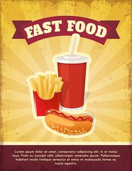 Szablon plakatu kompozycji fast food z frytkami, napojem gazowanym i hot-dogiem