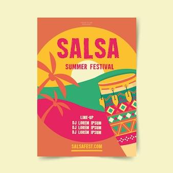 Szablon plakatu letniego festiwalu salsa