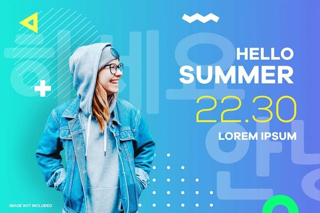 Szablon plakatu letniego wydarzenia na stronie internetowej i aplikacji mobilnej