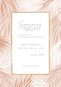Szablon plakatu letniej nocy. projekt karty zaproszenie na tropikalną plażę z miejscem na tekst