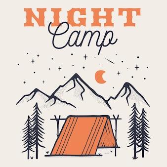 Szablon plakatu logo nocnego kempingu, emblemat retro górskiej przygody z górami, namiot.