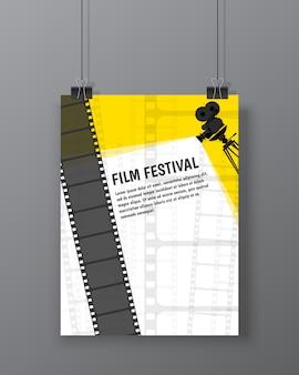 Szablon plakatu lub ulotki festiwalu kina