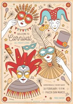 Szablon plakatu lub zaproszenia na bal maskowy z postaciami z kreskówek w kolorowych maskach i kostiumach