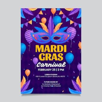 Szablon plakatu mardi gras w płaskiej konstrukcji