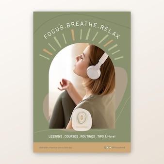 Szablon plakatu medytacji i uważności