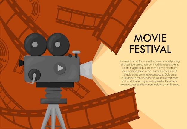 Szablon plakatu międzynarodowego festiwalu filmowego w stylu retro. pomarańczowe tło i czarne kolory. plakat festiwalu filmowego. kołowrotek i aparat do kina. szablon banera filmowego lub plakatu w kolorach retro.