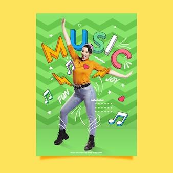 Szablon plakatu moda funky muzyki