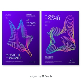 Szablon plakatu muzycznego fali dźwiękowej