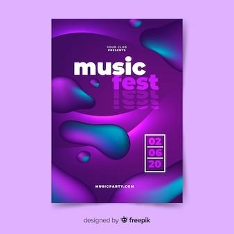 Szablon plakatu muzycznego z efektem płynnym