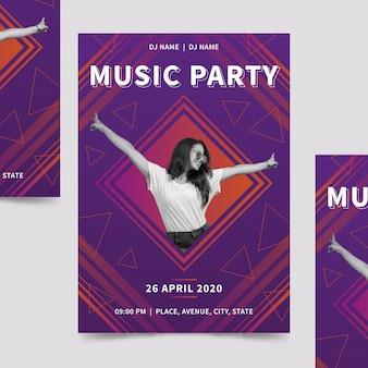 Szablon plakatu muzycznego ze zdjęciem