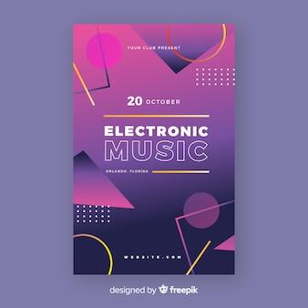 Szablon plakatu muzyki elektronicznej memphis