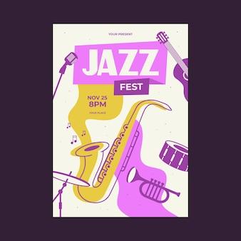 Szablon plakatu muzyki jazzowej saksofon werbel gitara mikrofon fortepian trąbka wektor