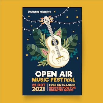 Szablon plakatu muzyki na świeżym powietrzu