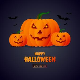Szablon plakatu na halloween z dynią i nietoperzami