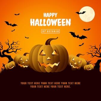 Szablon plakatu na halloween z dynią i pełnią księżyca