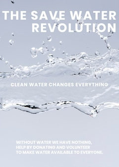 Szablon plakatu ochrony wody, tło wektor wody, tekst rewolucji oszczędzania wody
