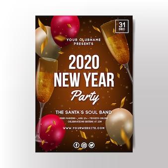 Szablon plakatu partii realistyczne nowy rok 2020
