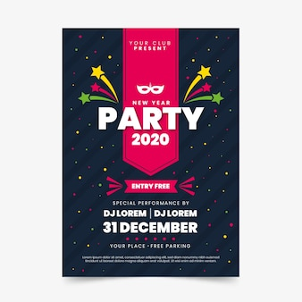 Szablon plakatu party nowy rok 2020 w płaskiej konstrukcji