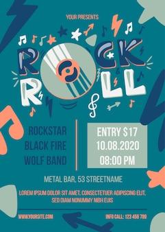 Szablon plakatu party rock and roll. baner internetowy wydarzenia rozrywkowego. broszura o koncercie muzycznym