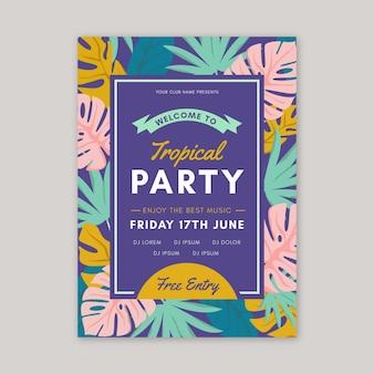 Szablon plakatu party w stylu tropikalnym