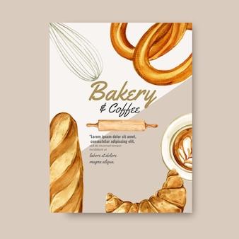 Szablon plakatu piekarni. kolekcja chleba i bułek. wykonane w domu