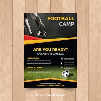 Szablon plakatu piłki nożnej ze zdjęciem