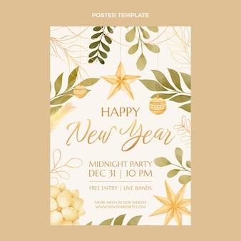 Szablon plakatu pionowego akwarela nowy rok
