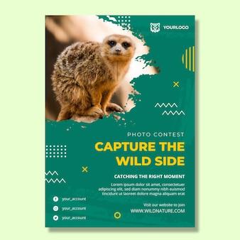 Szablon plakatu pionowego dzikiej przyrody