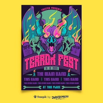 Szablon plakatu pionowego festiwalu muzycznego z bat