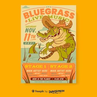 Szablon plakatu pionowego festiwalu muzycznego z bykiem i krokodylem