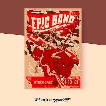 Szablon plakatu pionowego festiwalu muzycznego z bykiem i szkieletem