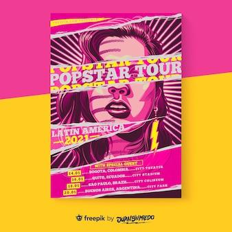 Szablon plakatu pionowego festiwalu muzycznego z kobietą