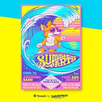 Szablon plakatu pionowego festiwalu muzycznego z surfującym lisem