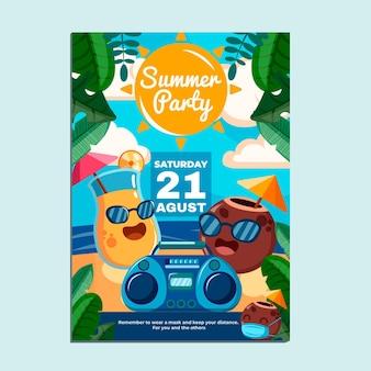 Szablon plakatu pionowego kreskówki lato party
