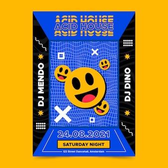 Szablon Plakatu Pionowego Płaskiego Kwasu Emoji Darmowych Wektorów