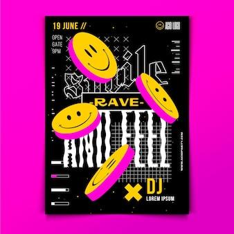 Szablon plakatu pionowego płaskiego kwasu emoji
