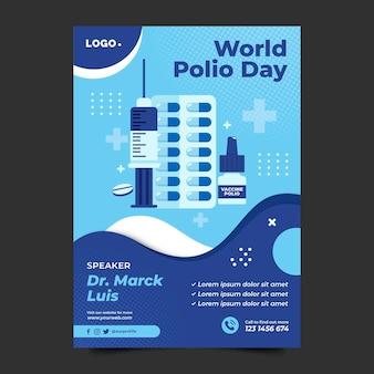 Szablon plakatu pionowego płaskiego światowego dnia polio