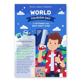 Szablon plakatu pionowego płaskiego światowego dnia turystyki