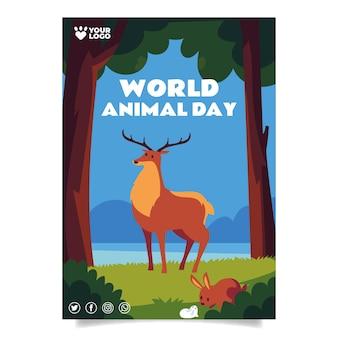 Szablon plakatu pionowego płaskiego światowego dnia zwierząt