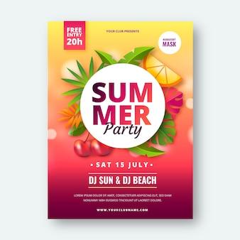 Szablon plakatu pionowego realistyczne letnie przyjęcie